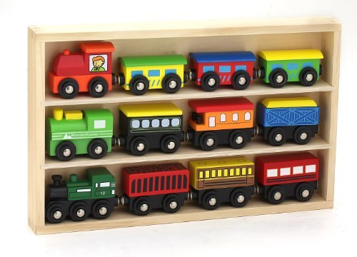 Wooden Train Cars and Tracks