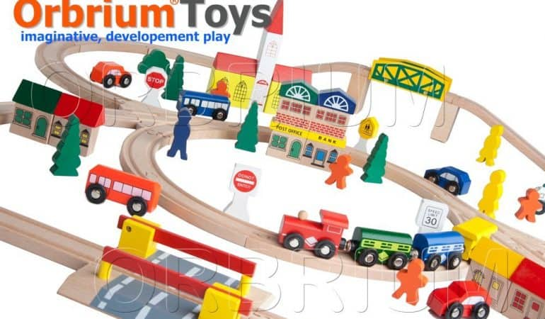 Wooden Train Set For Kids