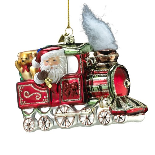 kurt adler noble gems glass santa on christmas train ornament - Christmas Train Decoration