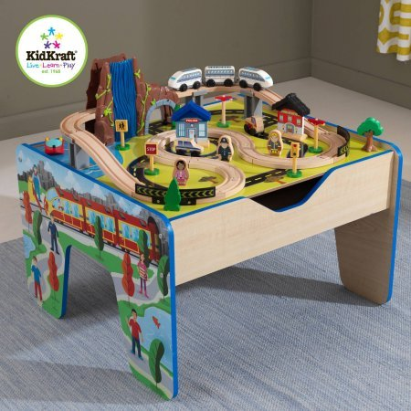 48 Piece KidKraft Rapid Waterfall Train Set and Wooden Table & 18 Kidkraft Wooden Train Table | Toy Train Center