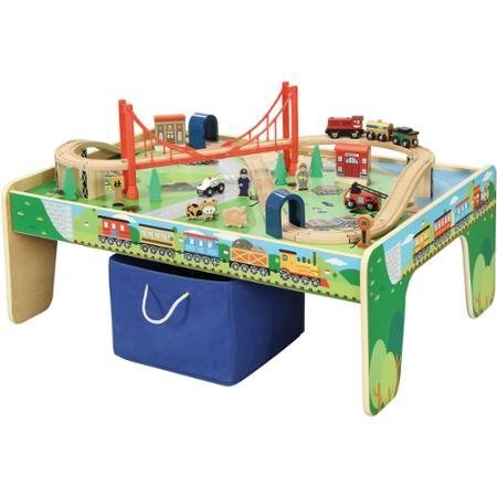 Maxim Railroad Wooden Activity Table with 50 Pc Train Set Compatible with Thomas the Train  sc 1 st  Toy Train Center & Wooden Train Table | Toy Train Center