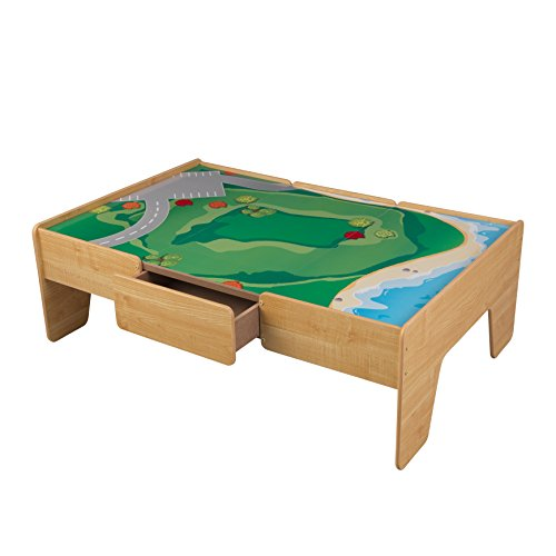 The Next Wooden Train Table Set Has A Play Board With Great Artistic Design  On The Surface. This Table Is From KidKraft, A Known Seller Of Train Toys,  ...