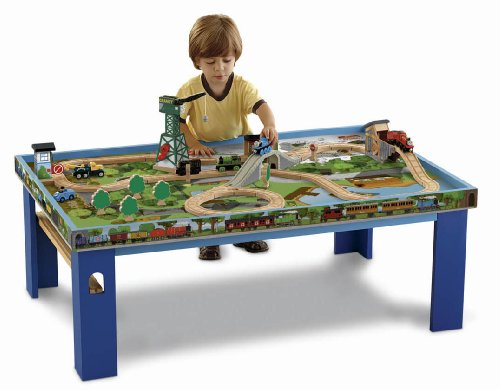 Wooden Train Table Toy Train Center