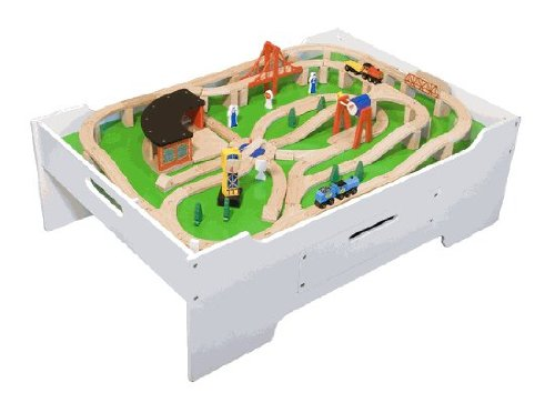 Melissa u0026 Doug Wooden Train Table and 130 Piece Train Set Package  sc 1 st  Toy Train Center & Wooden Train Table | Toy Train Center