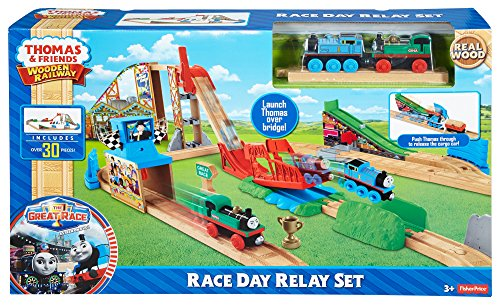 9e054a58207a Fisher-Price Thomas the Train Wooden Railway Race Day Relay Set