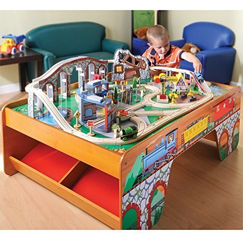 Wooden train table toy train center for 100 piece cityscape train set and wooden activity table
