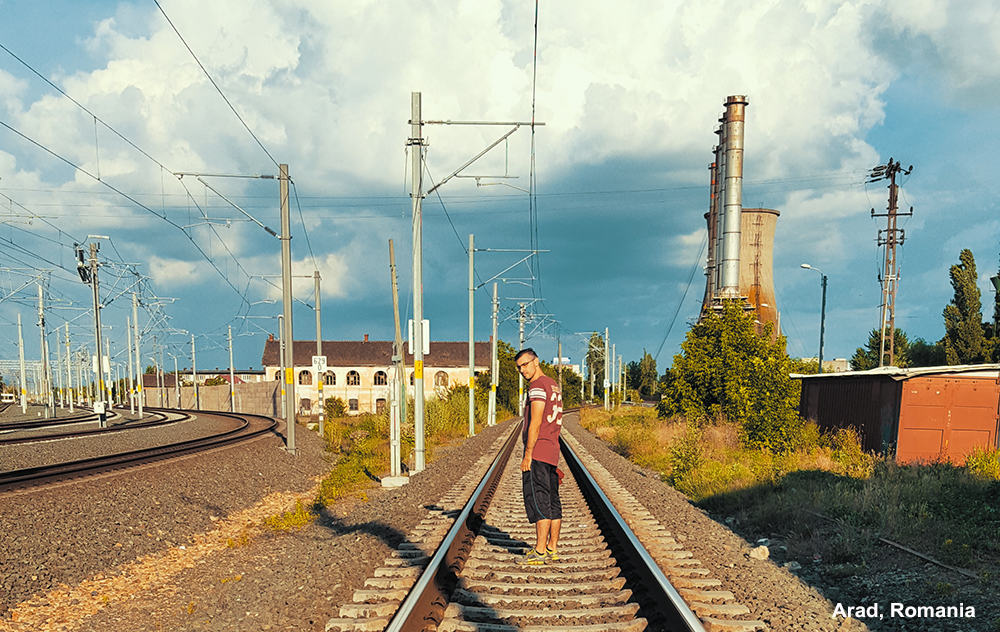 Train tracks in Arad, Romania